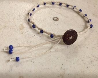 Cream Bracelet - Blue Seed Beads - Macrame Jewelry - Beaded Jewellery - Fashion - Trendy