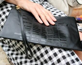 Black clutch bag, Faux Leather Bag, Wristlet Clutch, Minimalist Bag, handprinted handbag, clutch purse, vegan, urban style, for women