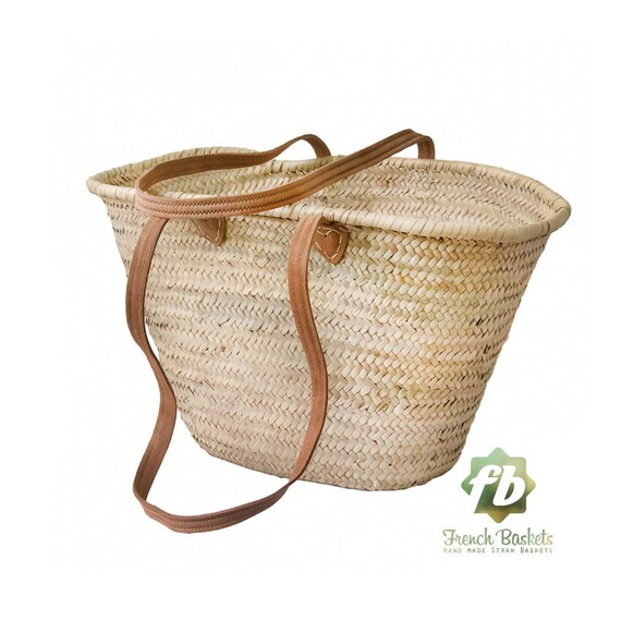 Natural Basket Long Flat Leather Handle, French Basket, Moroccan Basket, Straw Bag, French Market Basket, Beach Bag, Straw Bag by Etsy
