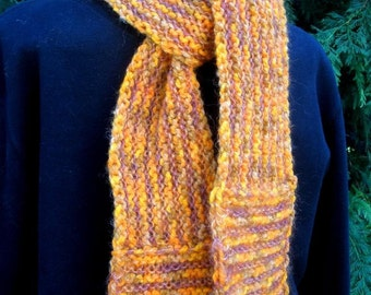 Indian Corn Striped Knitted Scarf