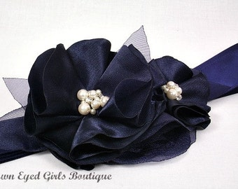 Navy Blue Bridal Sash, Blue Wedding Sash, Navy Wedding Belt, Blue Bridal Belt -Navy Blue Flowers