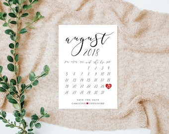 Save the Date Card, Modern Save the Date Calendar Insert, Wedding Announcement Card, Save the Date Calendar Print, Custom Save the Dates
