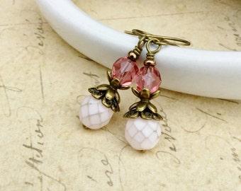 Pink Earrings, Rose Earrings, Dainty Earrings, Victorian Earrings, Light Pink Earrings,Czech Glass Beads,Pale Pink Earrings, Rustic Earrings