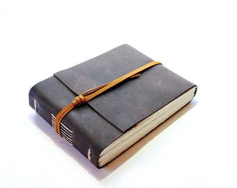 The Watercolour Journal - Handmade leather journal with handtorn watercolour paper