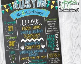 Baby Boy First Birthday Chalkboard Print, Blue, Yellow & Green, Banner, Statistics, Birthday Party Decoration (Digital File)