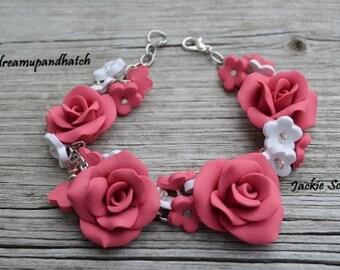 Pink Rose Bracelet, Free Shipping