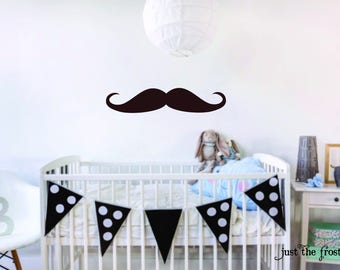 Mustache Decal - Wall Decal Nursery - Mustache Nursery Wall Decal - Wall Decal