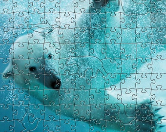 Polar Bear Zen Puzzle - Hand crafted, eco-friendly, American made artisanal wooden jigsaw puzzle