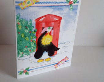 Christmas  Penguin  Posting a Letter Card, Penguin christmas Card, Festive Penguin Card