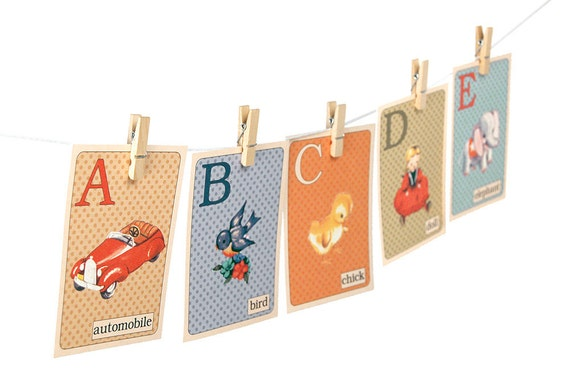 Digital Retro ABC Flashcards Printable Nursery Wall Art 5 By 7 Alphabet Flash Cards Instant Download Vintage Illustrations