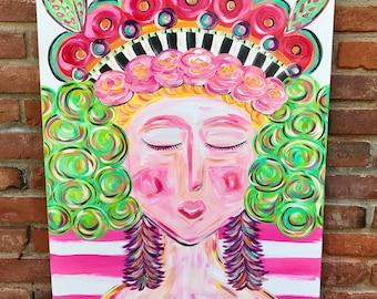 Woman painting/ painted female figure on canvas/ funky art/ feminine home decor/