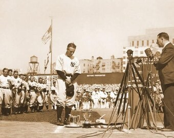Lou Gehrig Farewell Speech photo #1, Iron horse, MVP , Black and white, old, vintage antique, photography, picture, print, fine art