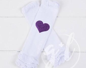 Leg warmers, Kids Legwarmers, Heart leg warmers, Glitter hearts, gold, pink, silver or purple