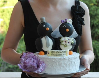 """Penguin wedding cake topper - love birds with banner, BIG 5"""" tall, black and white wedding"""