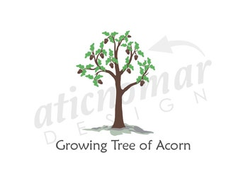 growing tree acorn -  Custom Premade Logo