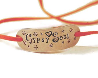 Gypsy Soul Aluminium And Faux Suede Wrap Bracelet - Hand Stamped Bracelet - Gift for Her - Jewellery - Personalised - Personalize -  Vegan