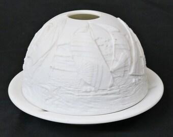 Bernardaud Limoges Lithophane Porcelain Votive Candle Holder, Sailboats w/ Box