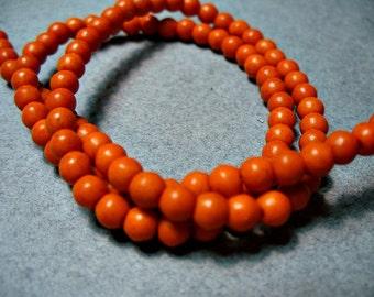 Magnesite Beads Gemstone Red Orange Round  4MM