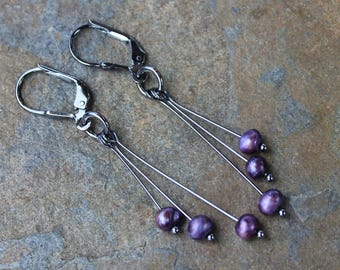 Purple splendor earrings- eggplant freshwater pearls on sterling silver lever back hooks- Oxidized or Bright Silver- Free shipping USA