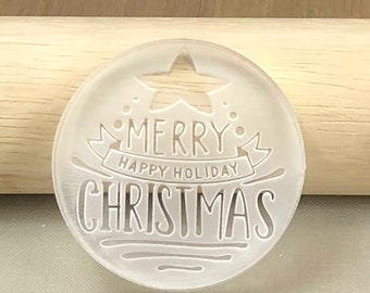 Cookie Stamps, Fondant Stamps, Embossers - Generic Happy Holiday, Christmas (STAMP1813) MADE IN Australia