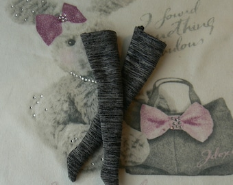 Black and grey Blythe Doll tights handmade in Paris France