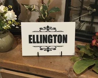"Customized Name White Corian Plaque, 9.5"" x 6"" x .5"""