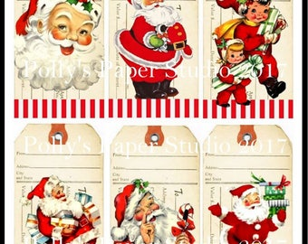 Retro Santa Gift Tags  Digital Images printable download file 6 images Polly's Paper Studio