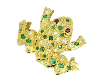 Gemstone 18ct Frog Brooch