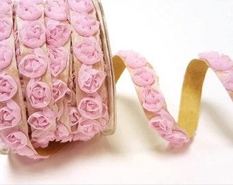 Wedding ribbon, self-adhesive roses, bridesmaid headband, favor ribbon, boho wedding, 5/8in 15mm wide, pink roses, WEDBTB456-3