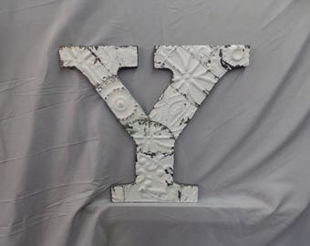 "Reclaimed  Tin Ceiling Wrapped 16"" Letter ""Y"" White Patchwork Metal Mosaic Wall Hanging 329-17P"