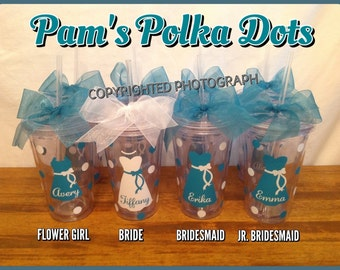 3 Personalized Clear 2-SIDED ACRYLIC TUMBLERS Name & Bridal Role for Bride Bridesmaids Bridal Bachelorette Gifts for Wedding Party