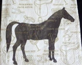 Horse on beige background paper towel
