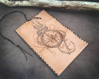 Anchor Compass ship, pirate map, Tobacco Pouch, compass case, Pyrography Leather, Pipe Pouch, Genuine leather, Portatabacco, Tabakbeute