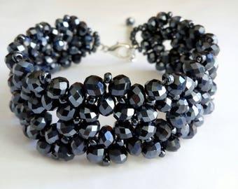 Black Beaded Bracelet, Beaded Jewelry, Seed Beaded Bracelet, Crystal Bracelet, Seed Bead Bracelet, Beadwoven Jewelry, Beadwork