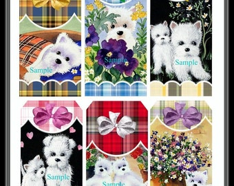 Adorable Westies Dog Tags Digital Printable - INSTANT DOWNLOAD