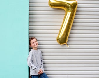 """34"""" Number 7 Gold Rose Gold Silver Mylar Balloon - Number 7 Balloon - Seven Balloon - Seventh Birthday Decor - Birthday Photo Prop"""