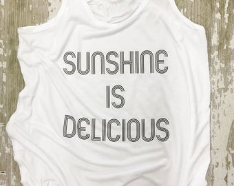 Sunshine is Delicious Racer Back Adult Tank Top