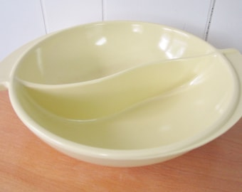 vintage melmac divided bowl pale yellow