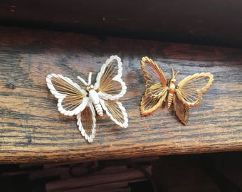 2 Monet Spinneret butterfly brooches