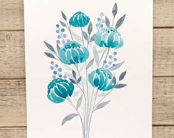 Shades of Blue Watercolor Florals