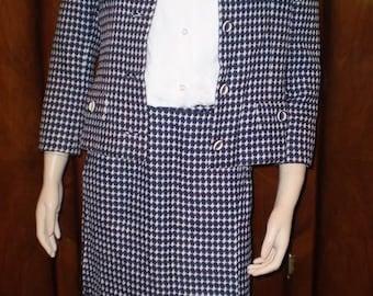 Vintage 50s Adele Simpson Suit Medium Checker Suit Skirt Set Couture Suit