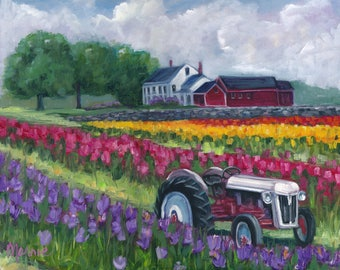 Tractoring through the tulips, original art, PRINT, landscape art, landscape, tulips 11x14 print