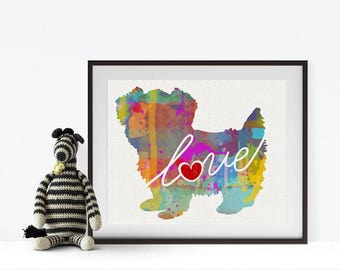 Morkie (Maltese / Yorkie) Love - A Colorful Watercolor Print - Gift for Dog Lovers - Pet Artwork - Pet Loss Gift - That Can be Personalized