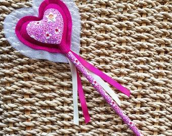 Love Heart Magic Fairy Wand - Princess Wand - in berry