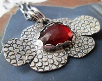 Garnet Art Deco Hand Stamped Flower Pendant in Sterling Silver Necklace Jewelry