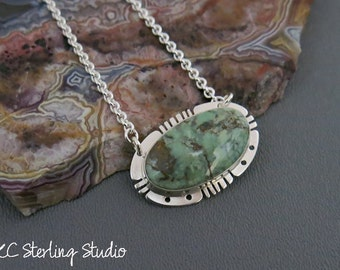 Sage green American New Lander turquoise pendant necklace with sterling silver - metalsmith silversmith
