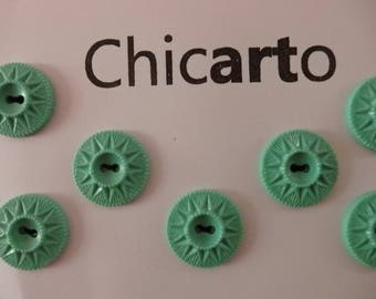 set of 7 green vintage plastic buttons