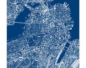 Boston Cityscape / Massachusetts Graphic City Map Art Digital Print / 8x10 / Choose your Color