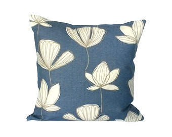 Decorative Pillow 16X16 Scatter Cushion Cover Pillow Cover Denim Blue Pillows Cushions in John Lewis Gingko Fabric Pillow Cushion Accent