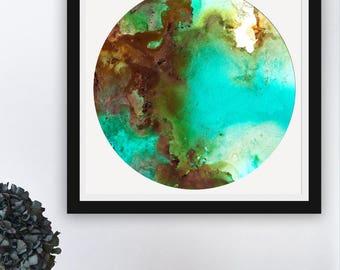 Abstract Ocean Wall Art, Modern Seascape Art Print, Neon Art Wall Decor, Abstract Coastal Art, Water and Waves Art Print, Inkblooms
